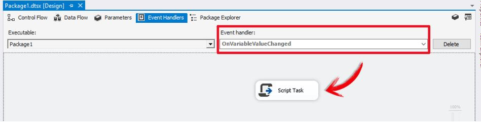 RaiseChangeEvent SSIS / Event Handlers SSIS